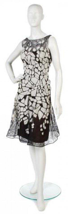 A Carolina Herrera Black Lace And White Silk Chiff
