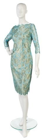 146: A Halston Aqua Lace Dress.