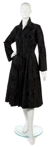 157: A Pierre Balmain Black Broadtail Coat,