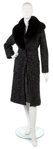 160: A Carolina Herrera Black and Grey Wool Coat,