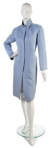 165: A Carolina Herrera Light Blue Wool Coat.