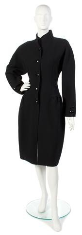 167: An Oscar de la Renta Black Wool Coat.