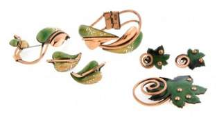 658 A Group of Renoir Matisse Copper Leaf Jewelry
