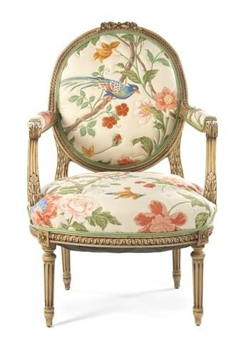 1: A Louis XVI Style Painted Fauteuil, Height 40 inches