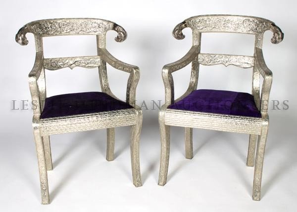 4: A Pair of Anglo-Indian Style Silvered Side Chairs, H