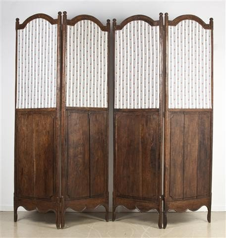 6: A French Provincial Oak Four-Panel Room Divider, Hei