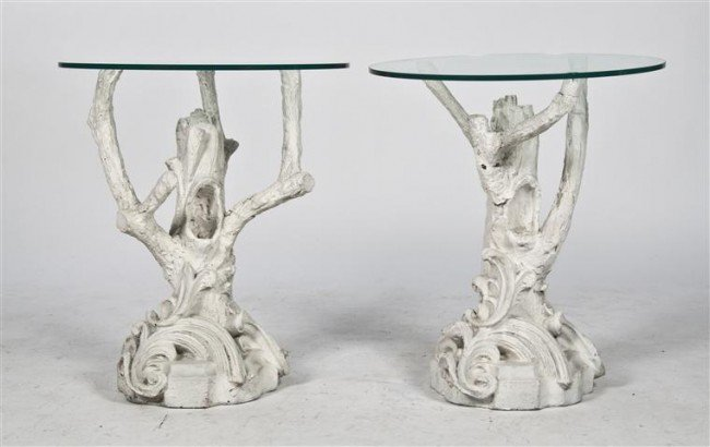 16: A Pair of Plaster and Glass Side Tables, Height 24