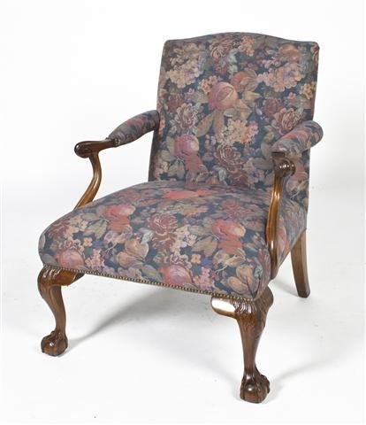 18: A George III Style Library Chair, Height 35 inches.