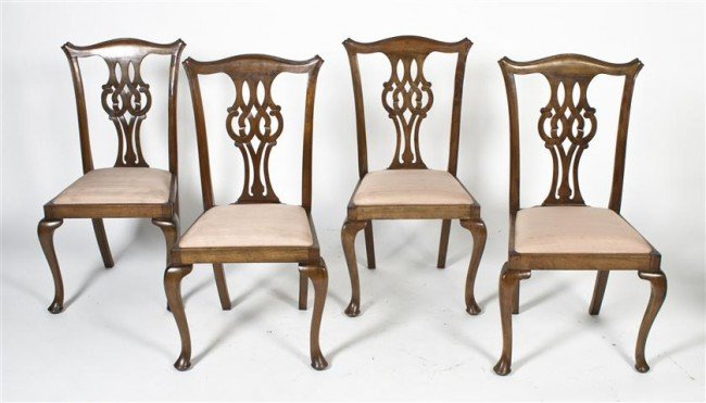 20: A Set of Four Chippendale Side Chairs, Height 39 1/