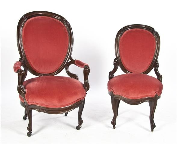 23: A Victorian Chair Set, Height of taller 42 inches.