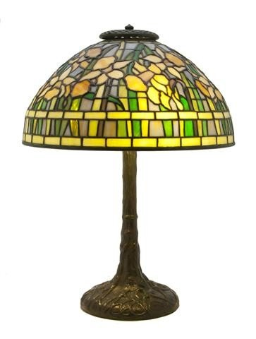 346: An American Leaded Glass Daffodil Table Lamp, afte