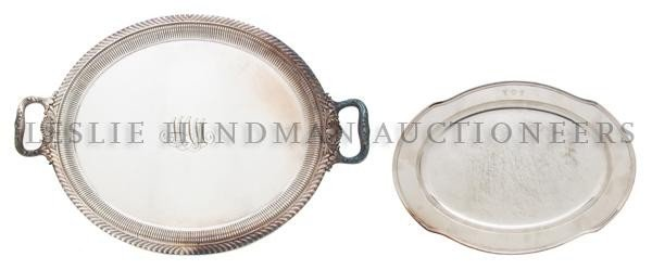 566: Two American Silverplate Trays, Gorham, Width of w
