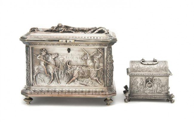 576: A Continental Silverplate Table Casket, Width of f
