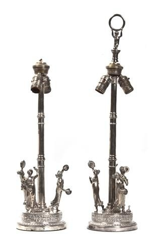 578: A Pair of Silverplate Figural Lamps, Height overal
