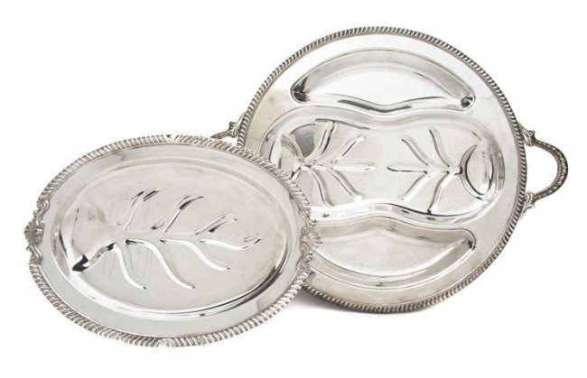 584: A Collection of Silverplate Meat Trays, Width of w