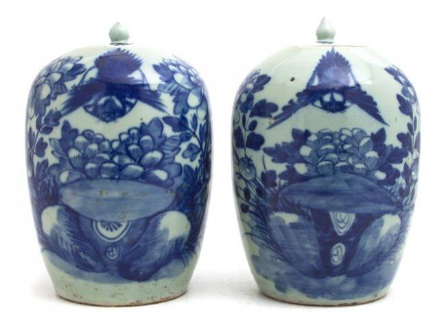 602: A Pair of Chinese Blue and White Ginger Jars and L