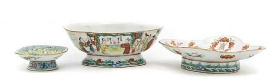 697: Three Chinese Footed Porcelain Articles, Width of