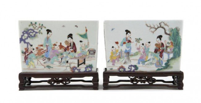 710: A Pair of Chinese Porcelain Jardinieres, Width of