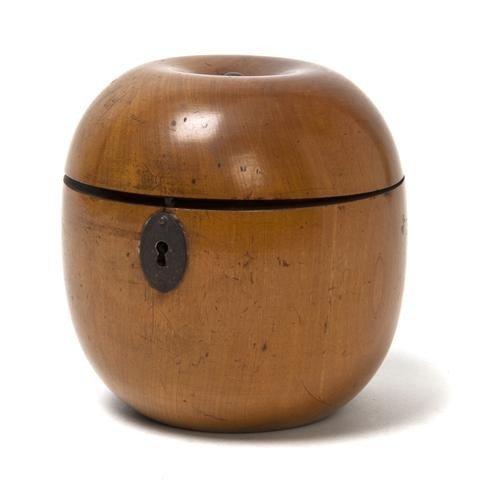 1: A George III Fruitwood Tea Caddy, Height 4 1/2 inche