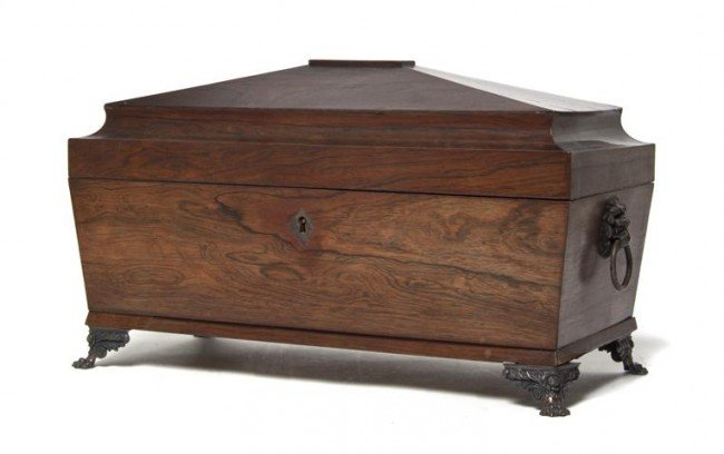 2: An English Rosewood and Silver Mounted Tea Caddy, Wi