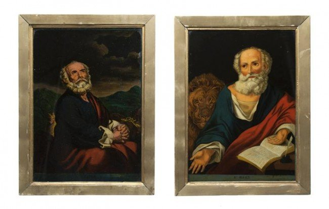 4: A Pair of English Reverse Paintings on Glass, Height