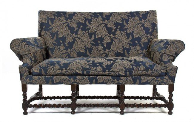 6: A William and Mary Style Settee, Width 71 inches.