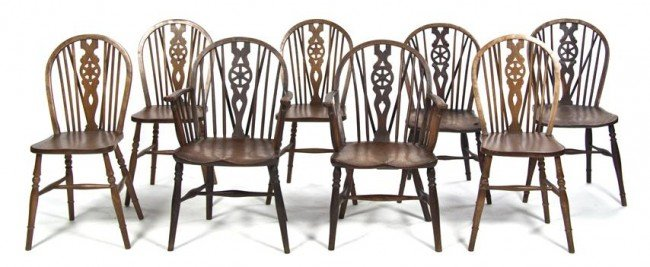 8: An Assembled Set of Eight Windsor Style Chairs, Heig