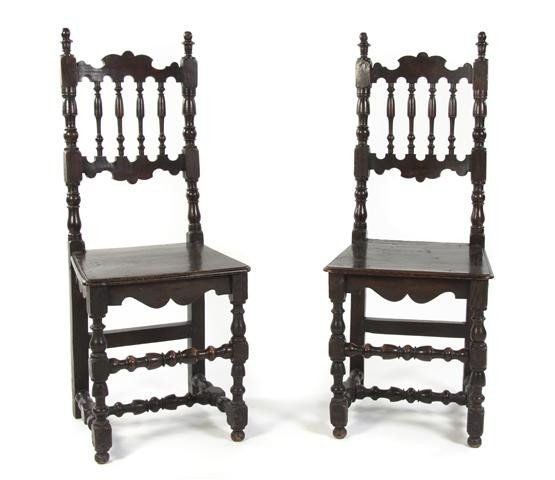 9: A Pair of English Spindle Back Chairs, Height 44 1/2
