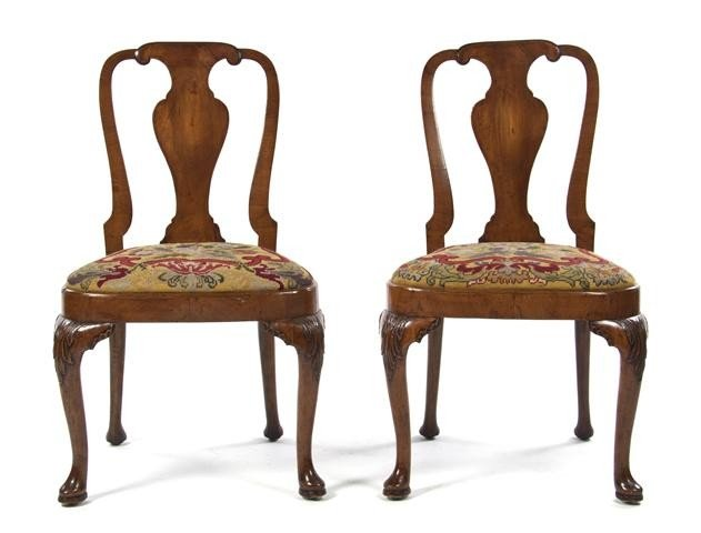 11: A Pair of Queen Anne Style Side Chairs, Height 38 i