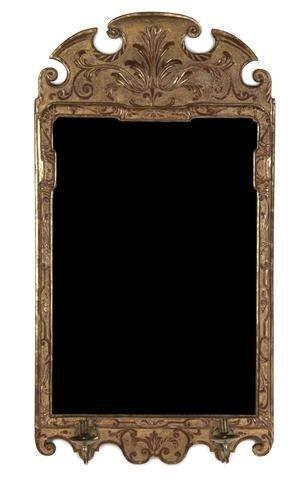 13: A Queen Anne Gilt Gesso Mirror, Height 39 3/4 x wid