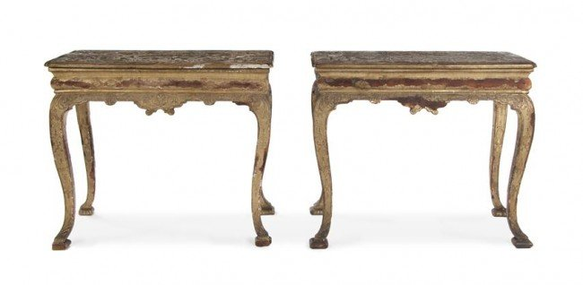 15: A Pair of Queen Anne Giltwood and Gesso Console Tab