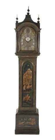 17: An English Painted Tall Case Clock, John Devis, Hei