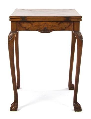 20: A George II Style Walnut Handkerchief Games Table,