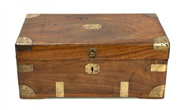 22: A Chinese Export Brass Mounted Camphor Wood Box, He