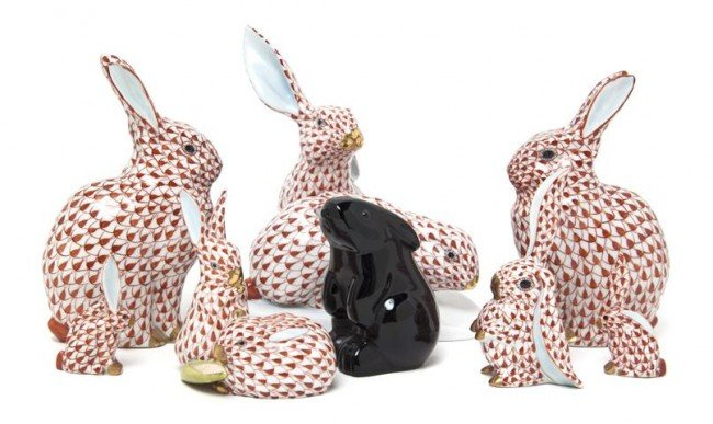 468: A Collection of Seven Herend Rabbit Figurines, Hei