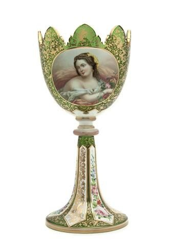 514: An Enameled Bohemian Glass Vase, Height 14 1/8 inc