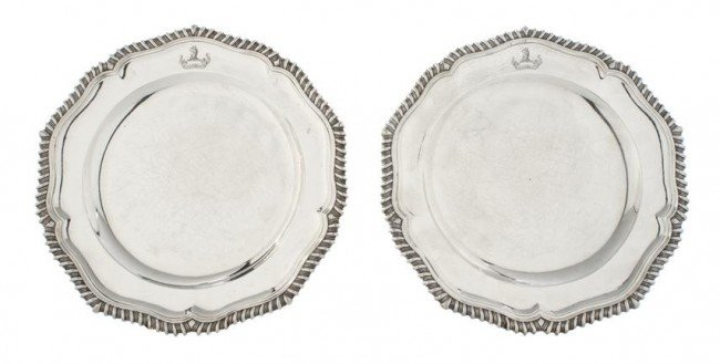 641: A Pair of English Silver Plates, Andrew Fogelberg,