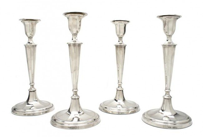 654: A Set of Four Edwardian Silver Candlesticks, Mappi
