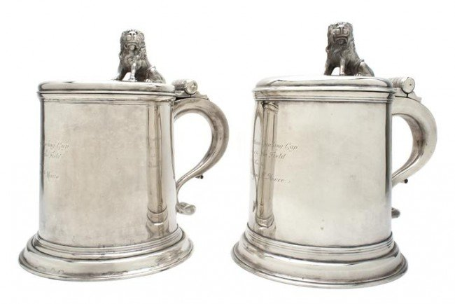 655: A Pair of George III Style Silver Tankards, Herber
