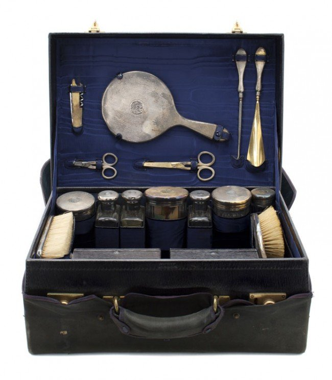 661: A Cased English Silver Mounted Dresser Set, Corke