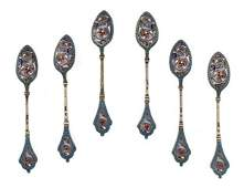 758 A Cased Set of Six Russian Enameled Silver Spoons