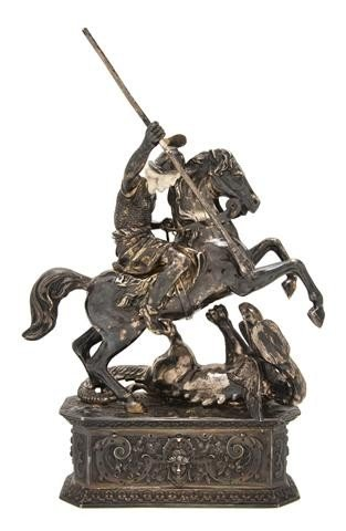 801: A German Silver and Ivory Model of St. George Slay