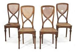 1025: A Set of Four Art Nouveau Side Chairs, Height 40