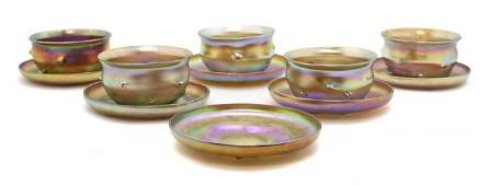1106: A Set of Tiffany Gold Favrile Glass Fingerbowls a