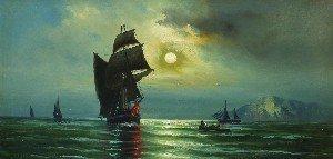 14: M.J. Klein, (American, 20th Century), Night Seascap