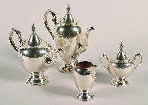 381: A Four Piece Silver Plate Tea Set, Gorham.