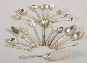 390: A Group of Assorted Silver and Silver Plate Flatwa