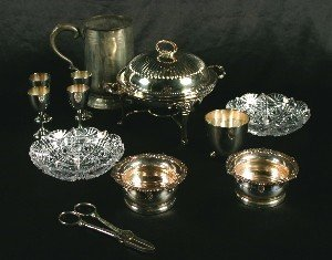 392: A Group of Silver Plate Table Articles, Height of