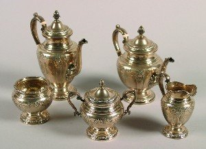 398: A Five Piece American Silver Tea and Coffee Servic