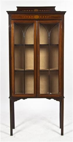 2: A Mahogany Inlaid Display Cabinet, Height 64 x width